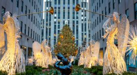 Famous Christmas Decoration with Angels and Christmas Tree - Rockefeller Centre (Top of the Rock) in New York City, USA - 19 of December 2015, New York City, USA