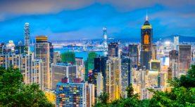 Hong Kong, China cityscape at twilight.