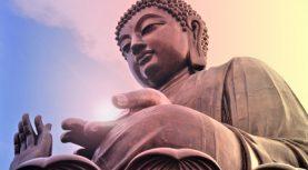 Buddha statue at Po Lin monastery Lantau island Hong Kong. Bright light source in hand.