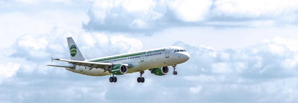 Die Fluggesellschaft Germania bietet zu vielen europäischen Flugzielen preiswerte Flugtickets an.